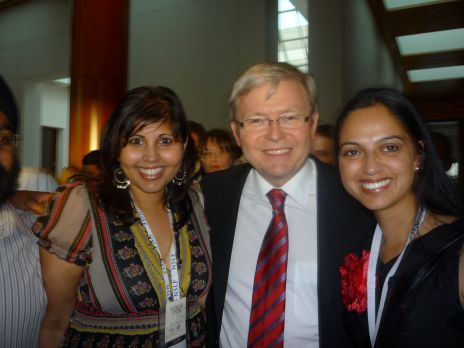 Taren Gill and Amardeep Kaur with Kevin Rudd, Rt Hon Prime Minister