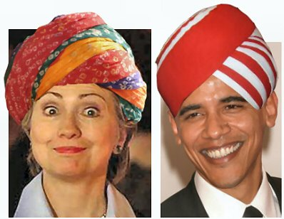 Barrack Obama and Hillary Clinton Turbanized